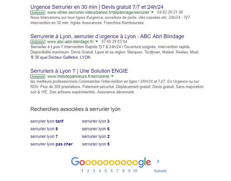 annonce google première page