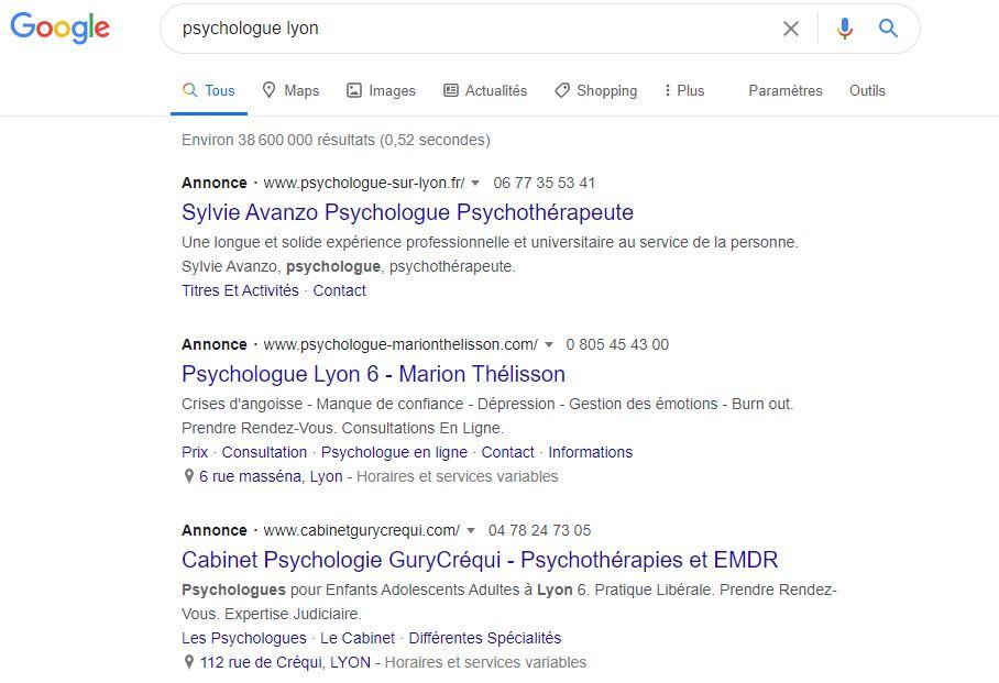 publicité google psychologue